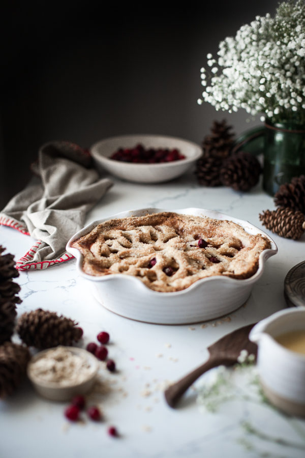 Spiced Cranberry Apple Pie + Oat Crust & Orange Custard Sauce