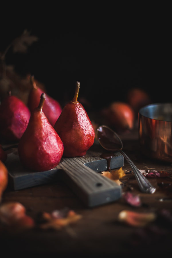 Puff Pastry Poached Pears + Spiced Wine Caramel