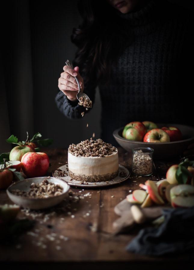 Pumpkin Cider Cheesecake + Oat Pecan Cookie Crumble
