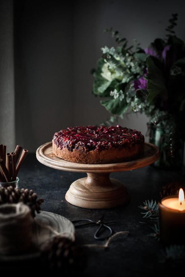 Cranberry Upside Down Olive Oil Oat Cake