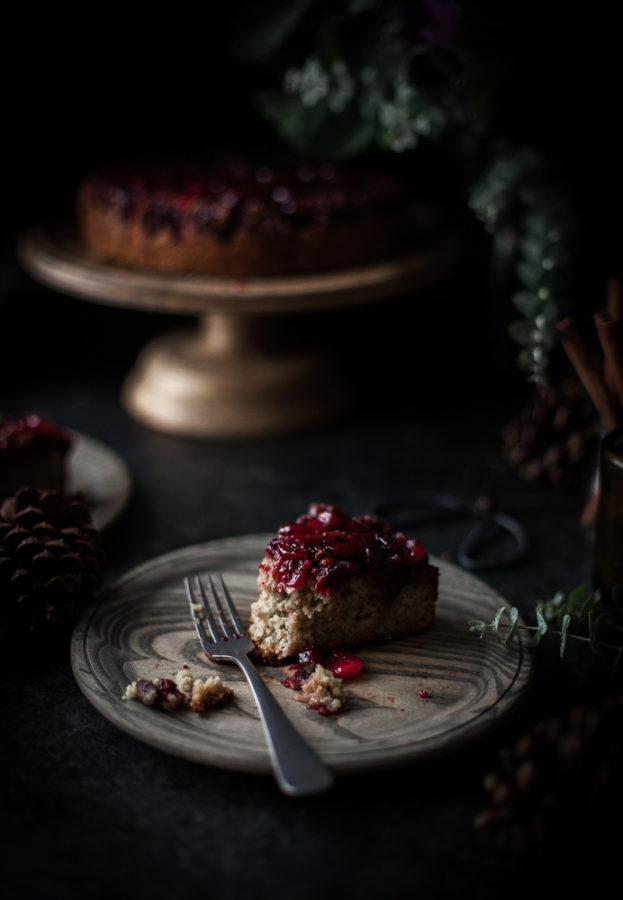 Cranberry Upside Down Olive Oil Oat Cake