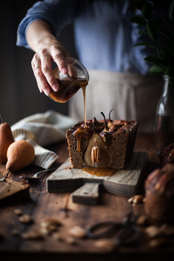 Gingerbread Pecan Pear Cake + Maple Caramel