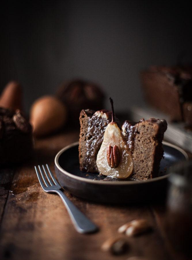 Gingerbread Pecan Pear Cake + Maple Caramel