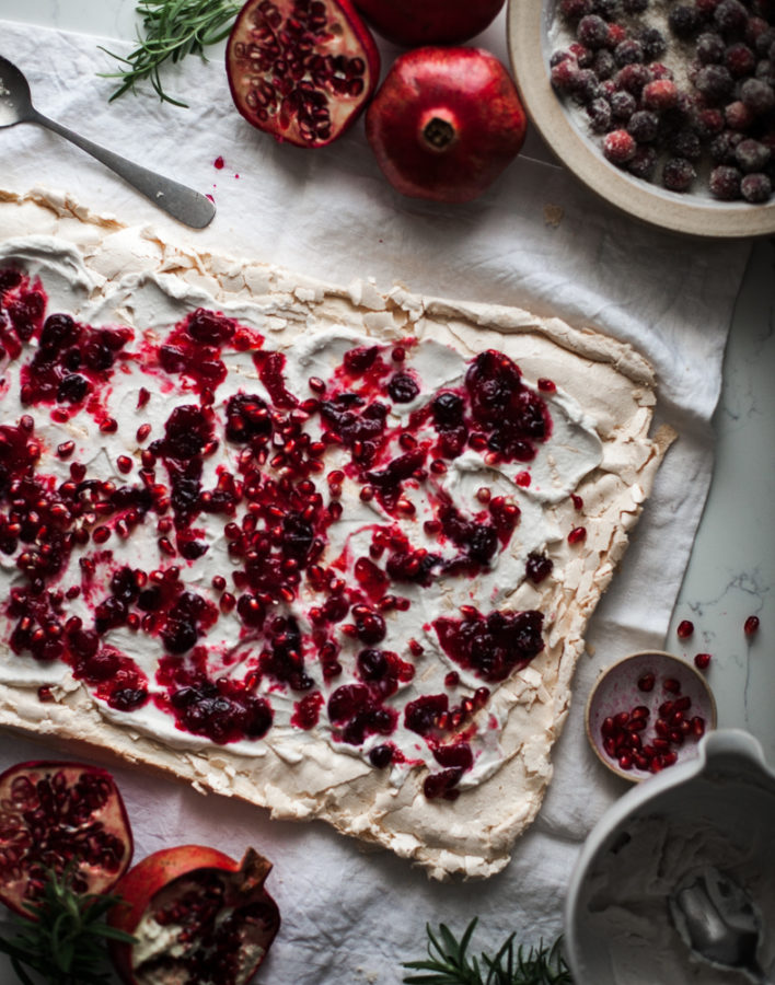 Winter Fruit Pavlova Roulade