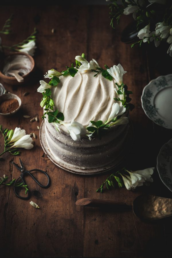 One-bowl Cardamom Carrot Cake + Creme Fraiche Frosting