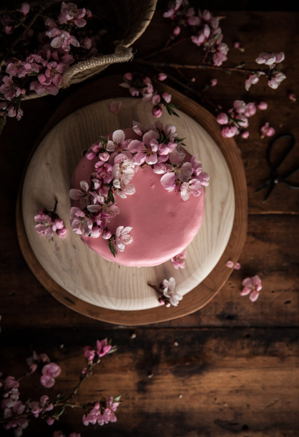 Lemon Vertical Roll Cake + Rhubarb Rose Frosting