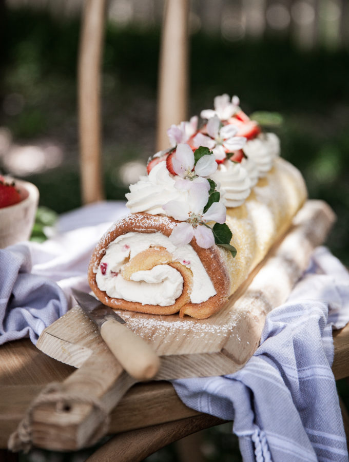 Lemon Sponge Roll + Mascarpone Cream & Strawberries