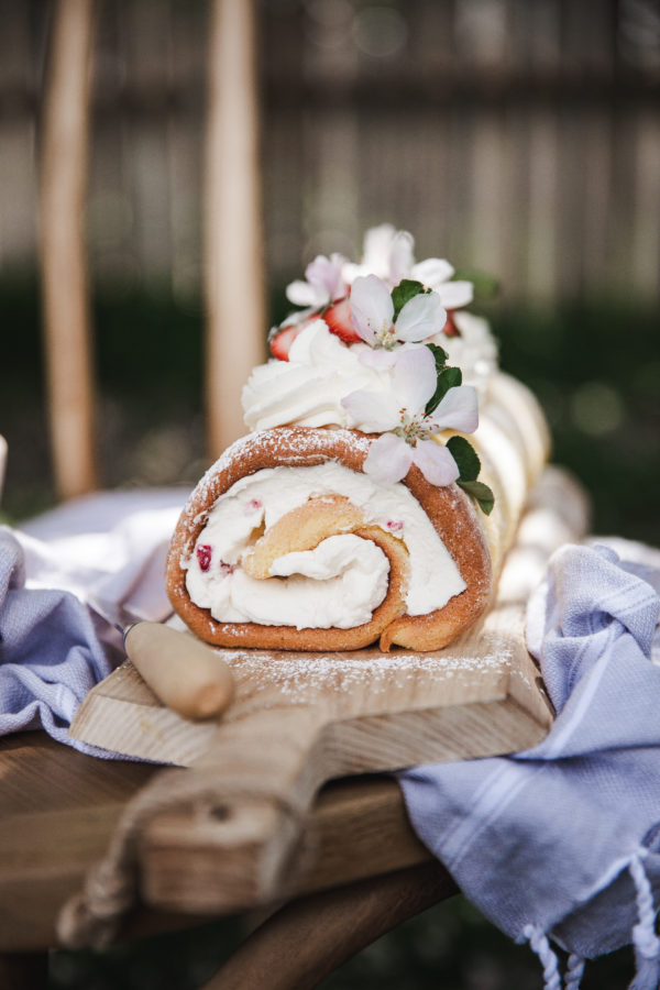 Lemon Cake Roll + Mascarpone Cream & Strawberries