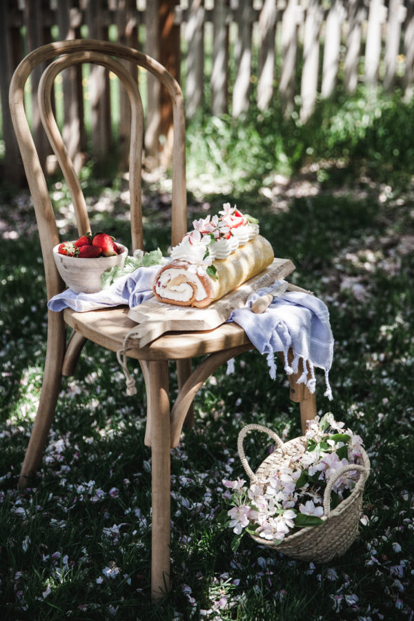 Lemon Cake Roll + Mascarpone Cream & Strawberries