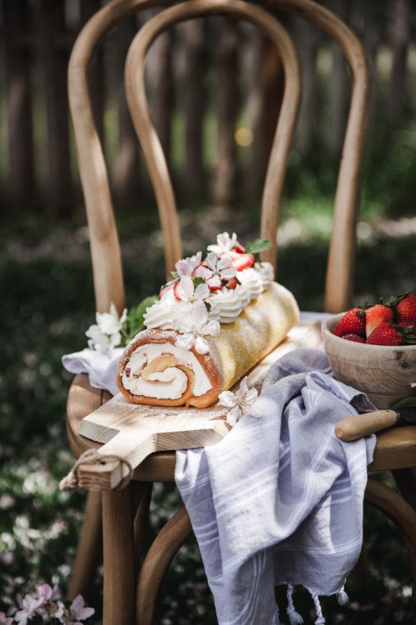 Lemon Sponge Roll + Mascarpone Cream & Strawberries