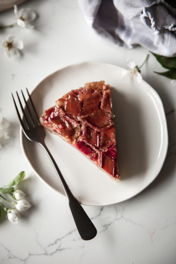 Rhubarb Upside Down Almond Cake