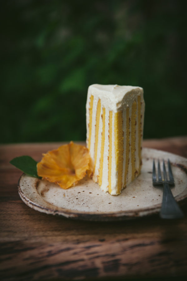 Coconut Vertical Roll Cake + Mango Mousse