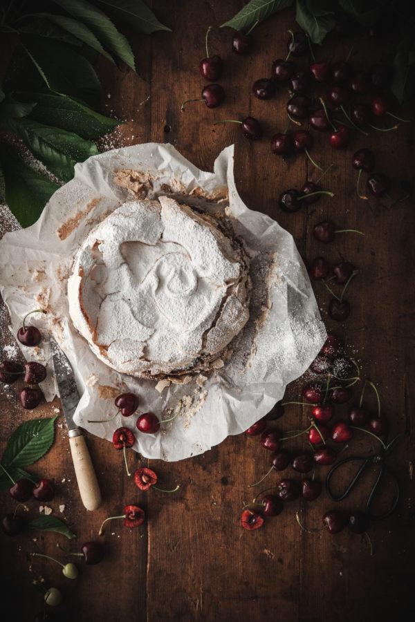 Cherry Almond Meringue Butter Cake