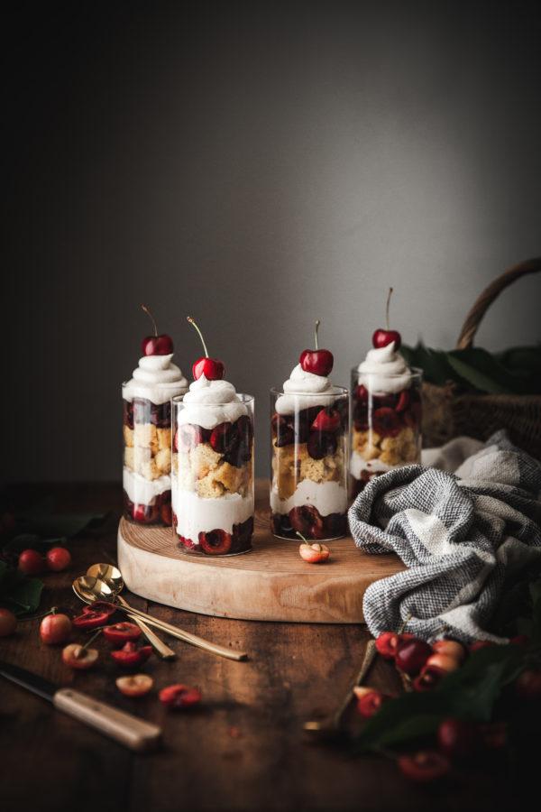 Coconut Cream + Lemon Pound Cake & Cherry Trifles
