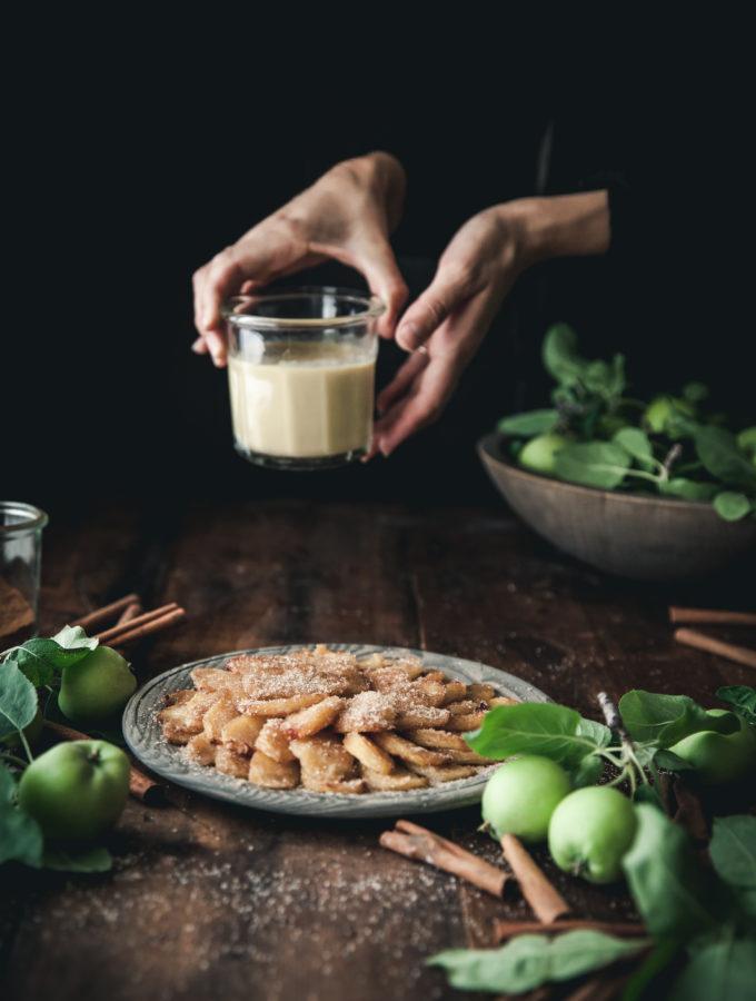 Cinnamon Sugar Apple Fries + Coconut Custard