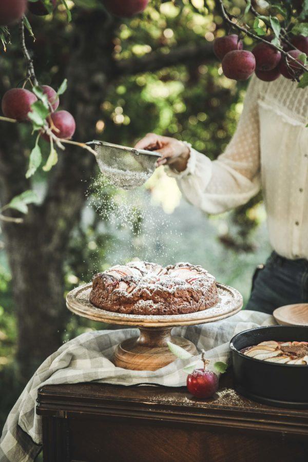 Ginger Spiced Apple Cake + Maple Tahini
