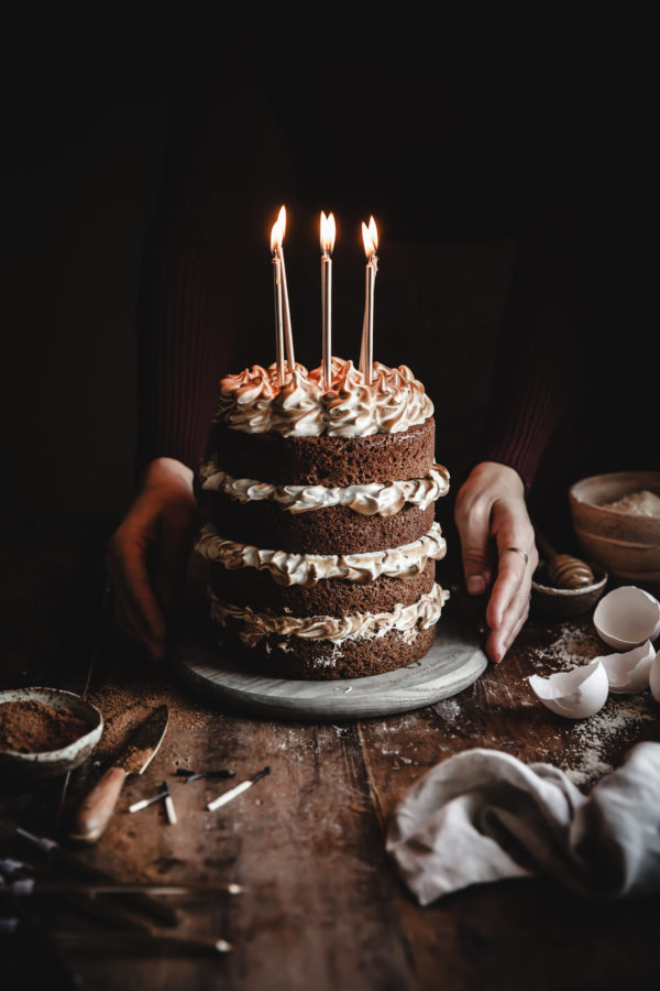 Paleo Caramel Custard Cake + Toasted Merinuge