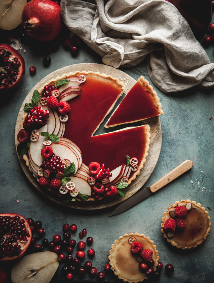 White Chocolate Custard Tart + Pomegranate Gelee