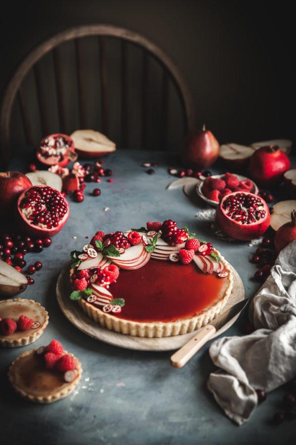 White Chocolate Custard Tart + Pomegranate Gelee