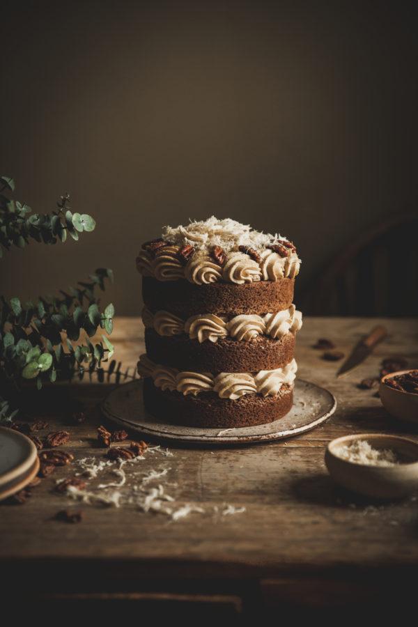 Tahini Mousse Cake + Candied Pecans & Halva