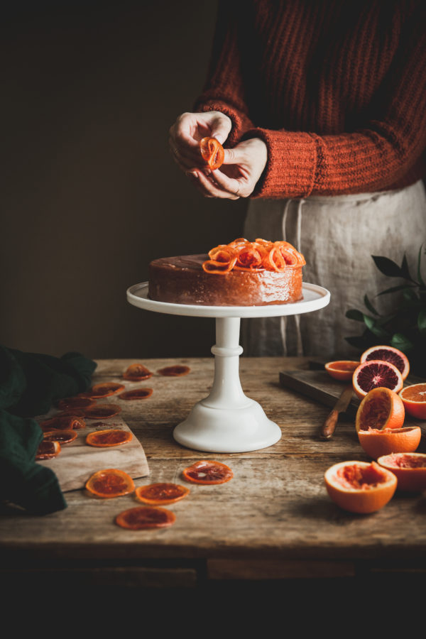 Whole Orange Almond Cake + Candied Citrus Ruffles
