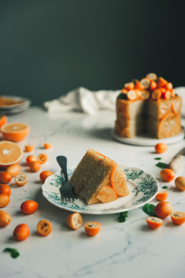 Candied Orange Olive Oil Cake + Cornmeal & Rum