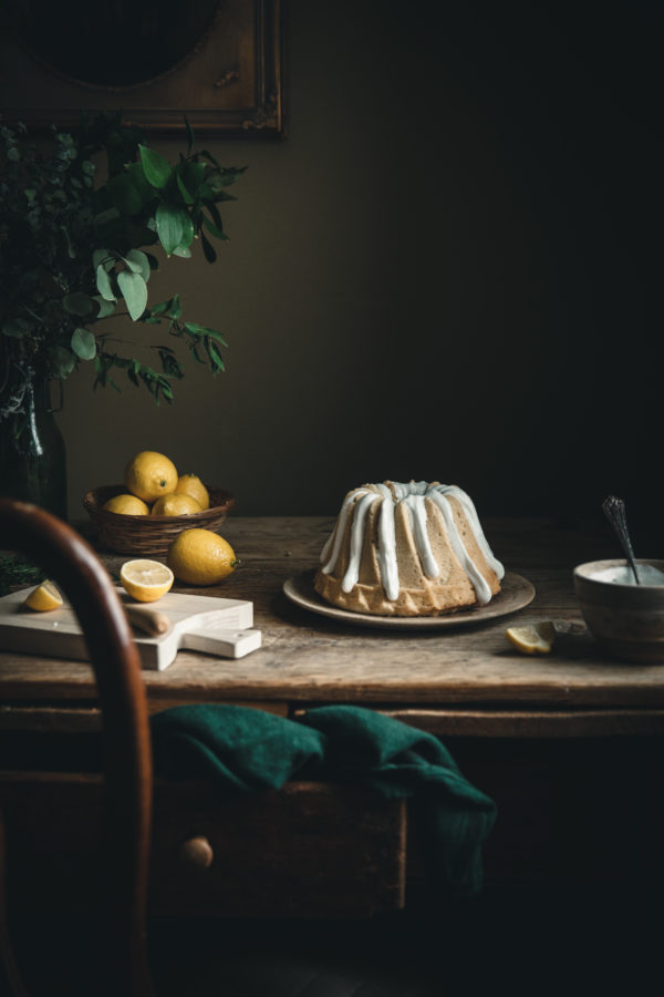 Lemon Rosemary Buttermilk Pound Cake + Meringue Glaze
