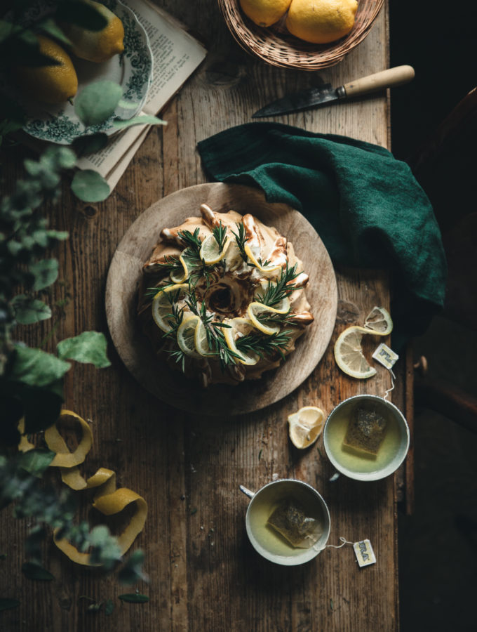Lemon Rosemary Buttermilk Pound Cake + Toasted Meringue Glaze