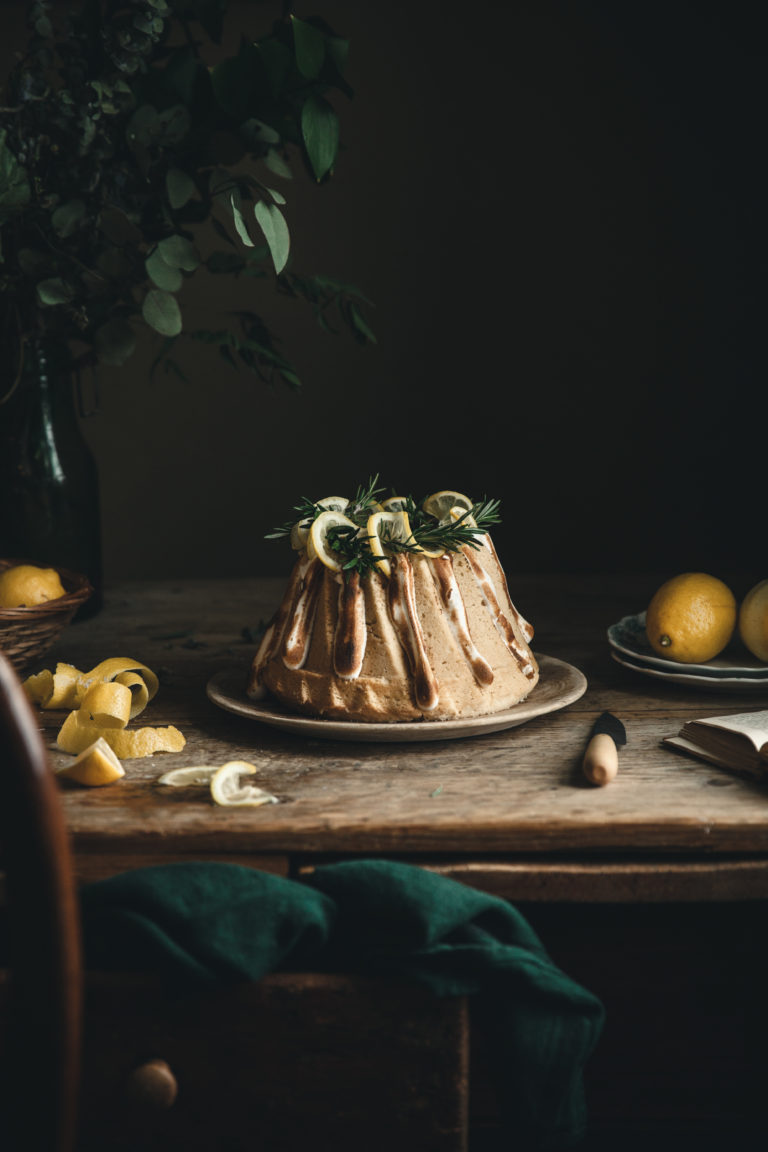 Lemon Rosemary Buttermilk Pound Cake + Toasted Meringue Glaze