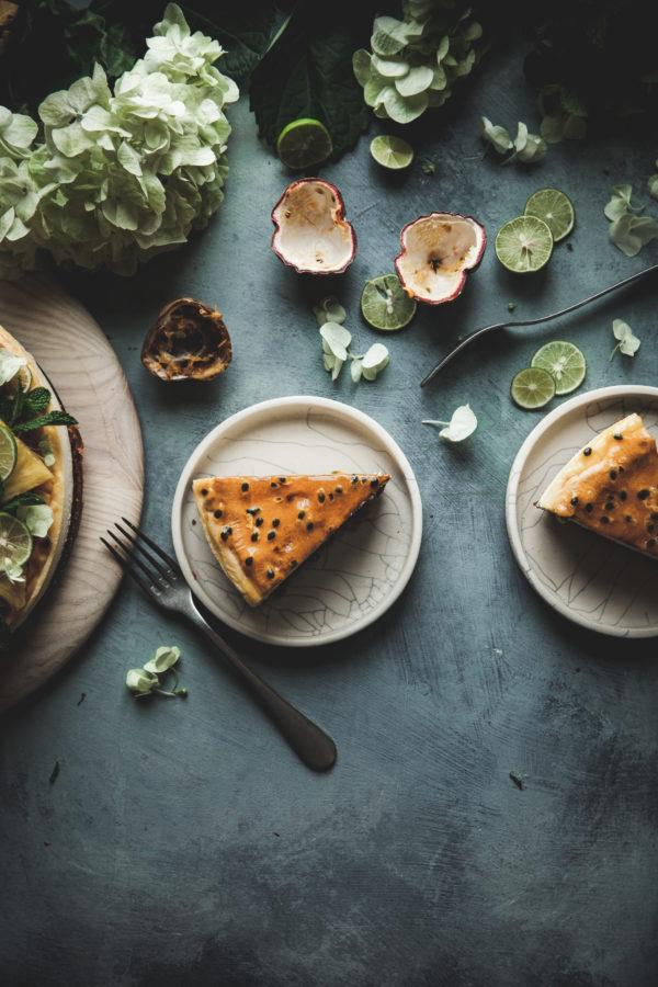 Passion Fruit Glazed New York-style Cheesecake