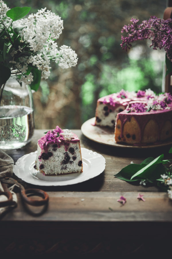 Blueberry Lavender Angel Food Cake