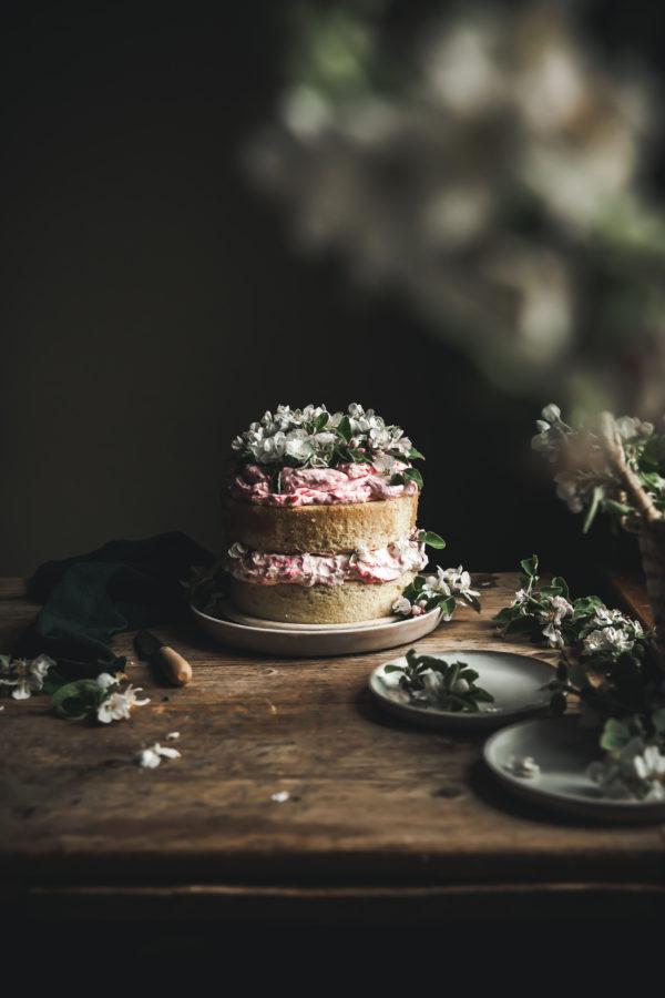 Lemon Chiffon & Rhubarb Fool Cake