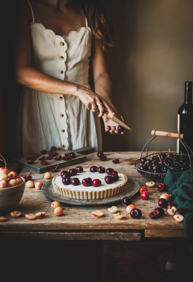 Coconut Malabi Tart + Cherries & Wine