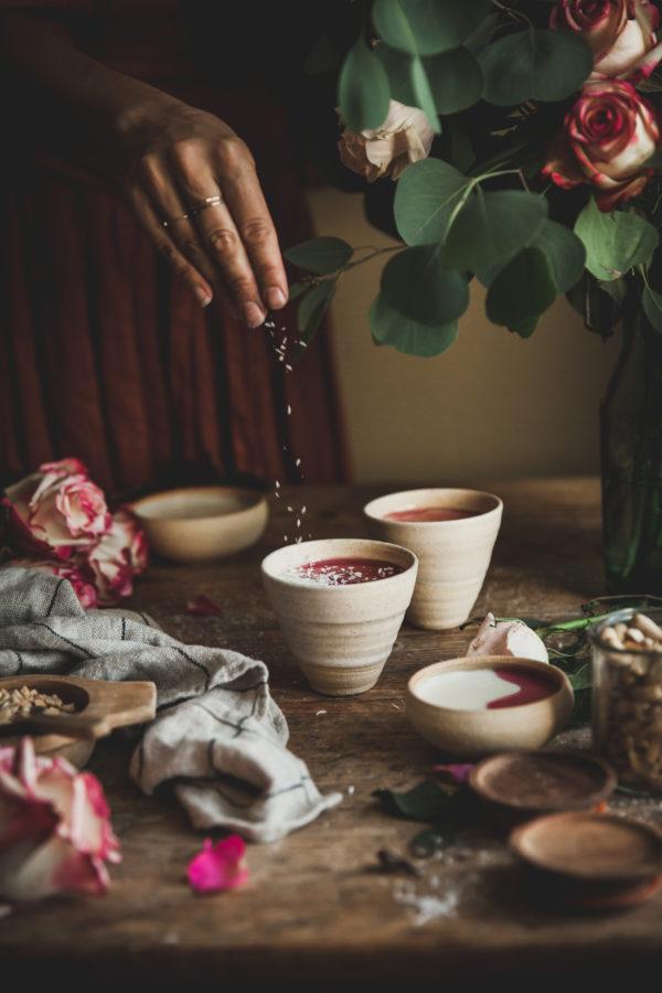 Rosewater Malabi (milk pudding) + Peanut & Coconut