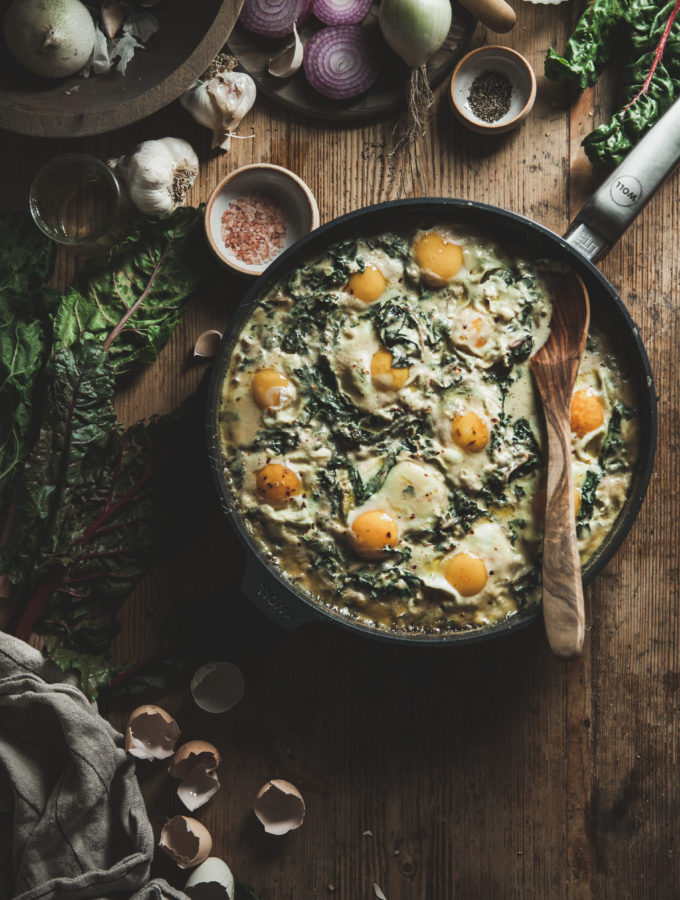 Creamed Swiss Chard & Eggs