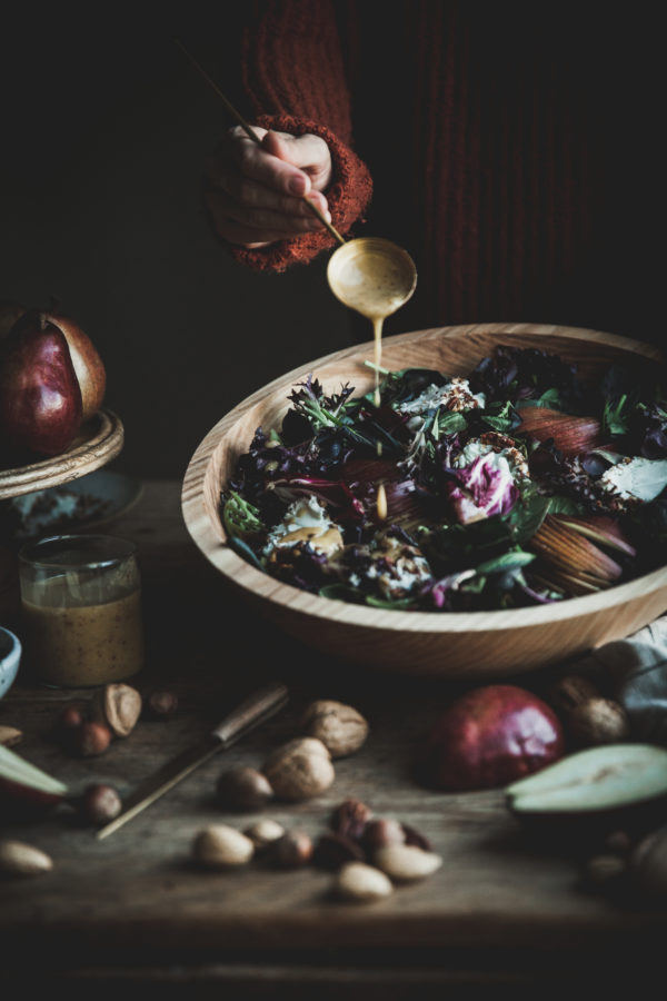 Red Pear & Goat Cheese Medallion Salad + Maple Mustard Vinaigrette