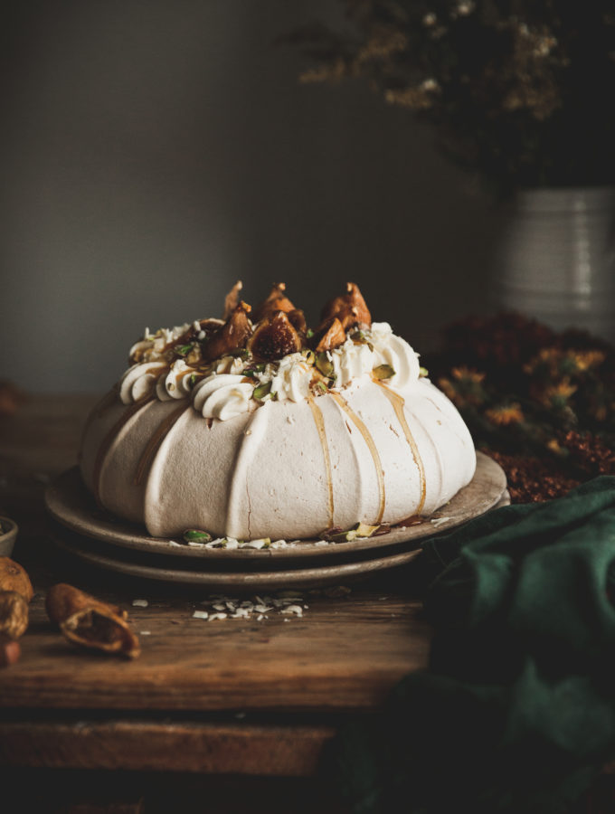 Golden Fig Pavlova + Pistachio, Honey, & White Chocolate Mascarpone