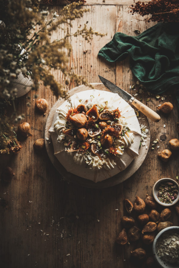 Golden Fig Pavlova + Pistachio, Honey, & White Chocolate Mascarpone