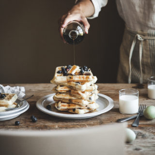 Overnight Blueberry Buttermilk Waffles