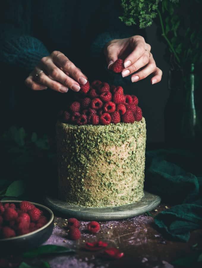 Pistachio Cake + Raspberry Rose Buttercream